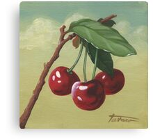three cherries - acrylic painting Canvas Print
