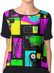 Granny's Things Coloured With Black Threads Abstracted Chiffon Top