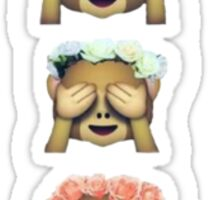 monkey emoji flower crown Sticker