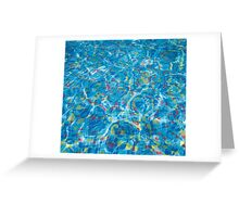The bottom of the pool of multicolored tiles Greeting Card