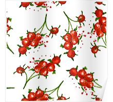 red berries seamless pattern Poster