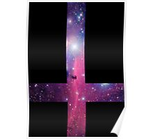Purple Galaxy Inverted Cross Poster