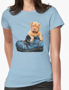 Cute Puppy In Boot Womens Fitted T-Shirt