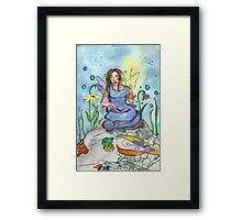 Last Candle/ Fairy and sleeping dragon Framed Print