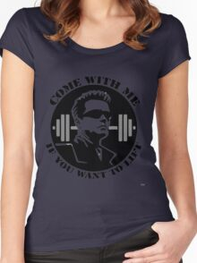 come with me if you want to lift - arnold Women's Fitted Scoop T-Shirt