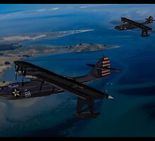 PBY Catalinas home from patrol by tomandersonart