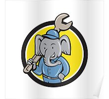 Elephant Mechanic Spanner Shoulder Circle Cartoon Poster