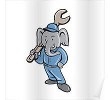 Elephant Mechanic Spanner Standing Cartoon Poster