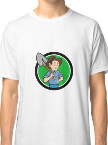 Farmer Shovel Shoulder Circle Cartoon Classic T-Shirt