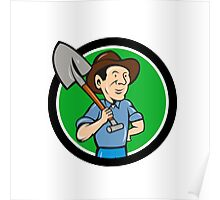 Farmer Shovel Shoulder Circle Cartoon Poster