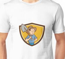 Farmer Shovel Shoulder Crest Cartoon Unisex T-Shirt