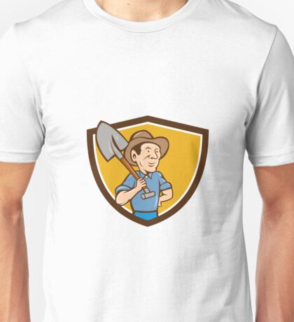 Farmer Shovel Shoulder Crest Cartoon Unisex T-Shirt