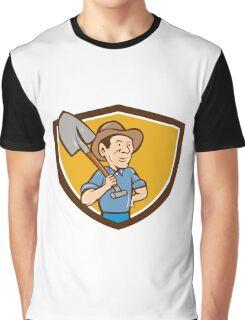 Farmer Shovel Shoulder Crest Cartoon Graphic T-Shirt