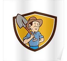 Farmer Shovel Shoulder Crest Cartoon Poster
