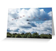 Red Arrows F35 Typhoon Fly By Greeting Card