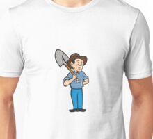 Farmer Shovel Shoulder Standing Cartoon Unisex T-Shirt