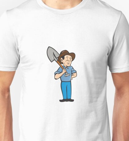 Farmer Shovel Shoulder Standing Cartoon Unisex T-Shirt