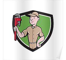 Handyman Monkey Wrench Crest Cartoon Poster