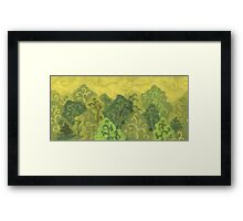 Green forest, wool painting, summer landscape in green & yellow Framed Print