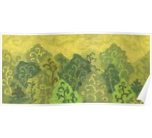 Green forest, wool painting, summer landscape in green & yellow Poster