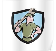 Mechanic Wielding Spanner Crest Cartoon Poster