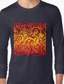 Red, yellow and gold vector pattern Long Sleeve T-Shirt