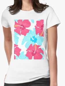 pattern with hibiscus  Womens Fitted T-Shirt