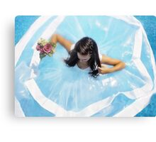 wedding dress in the pool  Canvas Print