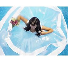 wedding dress in the pool  Photographic Print