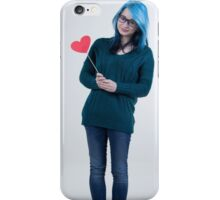 the girl with blue hair iPhone Case/Skin