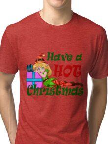 Elf Girl Leaning On Present For Christmas Tri-blend T-Shirt