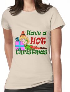 Elf Girl Leaning On Present For Christmas Womens Fitted T-Shirt