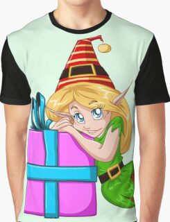 Elf Girl Leaning On Present For Christmas Graphic T-Shirt