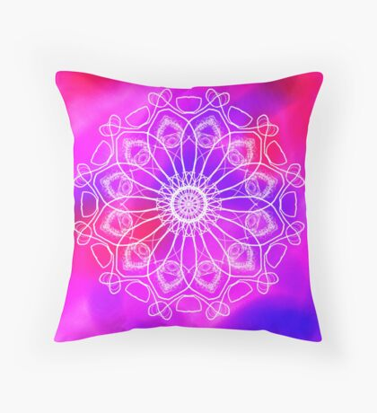 Pink and Purple Mandala Throw Pillow