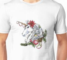 Christmas Unicorn Plain Background Unisex T-Shirt
