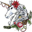 Christmas Unicorn Plain Background by LCWaterworth