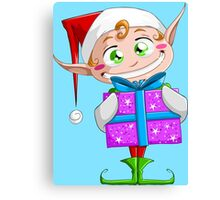 Christmas Elf Holding A Present Canvas Print