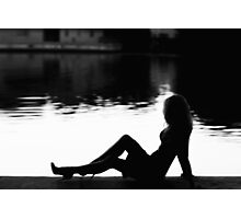 Silhouette woman siting near the lake  Photographic Print