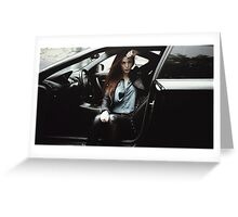 model sit in the car  Greeting Card