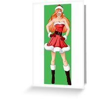 Woman Dressed In Sexy Santa Clothes For Christmas Greeting Card