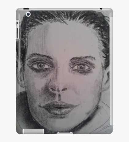 Charcoal portrait young woman iPad Case/Skin