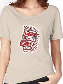 """Bold-School"" Tiki Head. Women's Relaxed Fit T-Shirt"