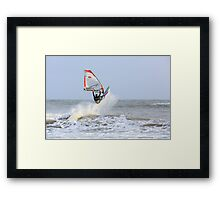 Surfer Riding the Waves Framed Print