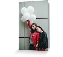 two woman carrying balloon Greeting Card