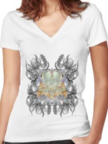 Psychedelic bouquet Women's Fitted V-Neck T-Shirt
