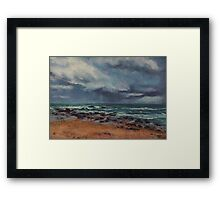 Storm approaching Middle Rock Beach Framed Print