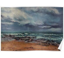 Storm approaching Middle Rock Beach Poster