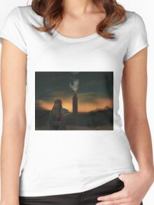 Lexa watching over Polis  Women's Fitted Scoop T-Shirt