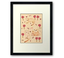 Orange Cat Pattern Framed Print