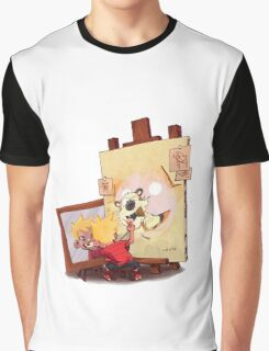 calvin was painting Hobbes Graphic T-Shirt